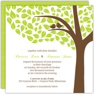 Brown and Green Love Birds Wedding Invite