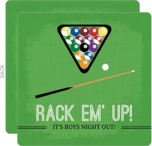 Green Pool Table Bachelor Party Invitation