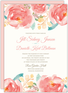 Pink Elegant Watercolor Flower Wedding Invite