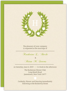 Green Leaf Monogram Wedding Invite