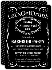 Black Bottle Label Bachelor Party Invitation