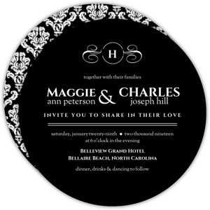 Black Elegant Circle Wedding Invitation