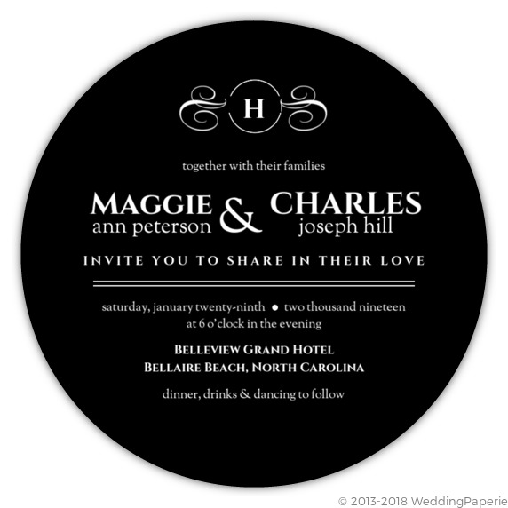 black elegant circle wedding invitation wedding invitations