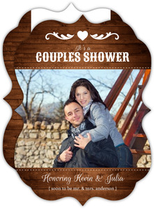 Dark Wooden Couples Shower Invitation
