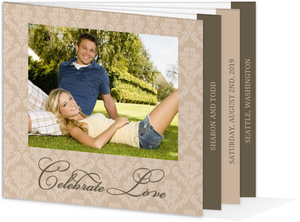 Neutral Damask Booklet Wedding Invitation