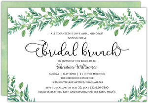 foliage garland bridal shower invites