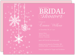 Blushing Bride Pink Winter Bridal Shower Invitation