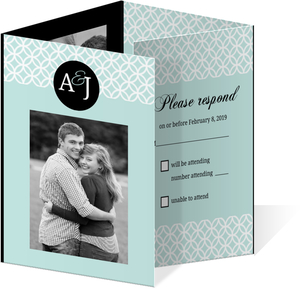 Turquoise Monogram Accordion Wedding Invite