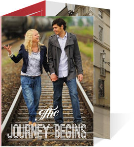 Red and Gray Journey Trifold Wedding Invite