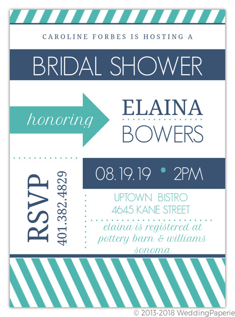 Modern stripes navy and turquoise bridal shower invitation parties modern stripes navy and turquoise bridal shower invitation filmwisefo