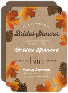Leaves and Pinecones Fall Bridal Shower Invitation