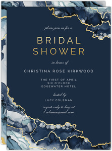 Modern Navy Ink Bridal Shower Invitation