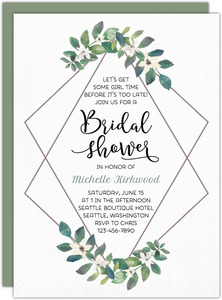 Modern Frame Greenery Bridal Shower Invitation