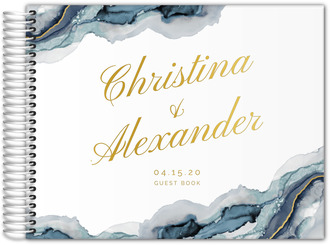 Modern Navy Ink Real Foil Wedding Guest Book