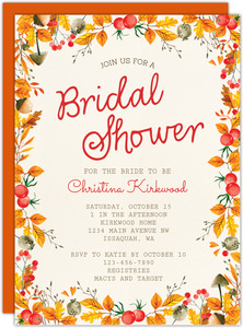 Frame of Leaves Bridal Shower Invitation