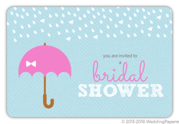 rain and umbrella blue bridal shower invite