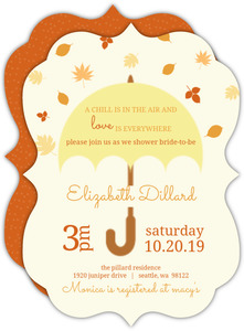 Falling Leaves Umbrella Bridal Shower Invite