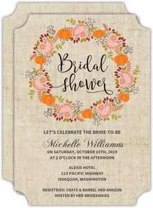 Fall Burlap Wreath Bridal Shower Invitation