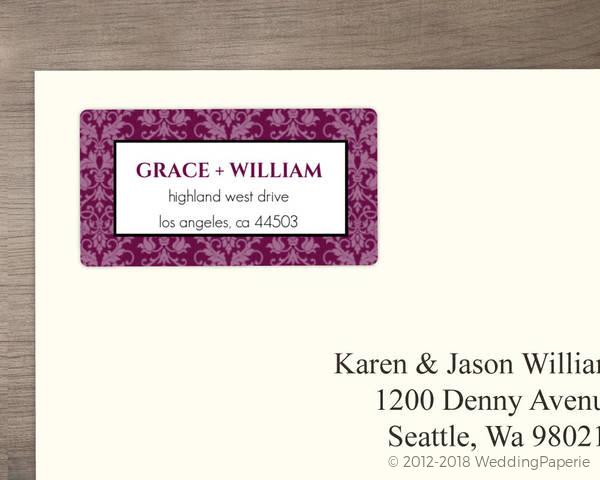 sangria and black elegant damask address label wedding address labels