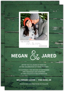 Green Wood Grain Photo Wedding Invite
