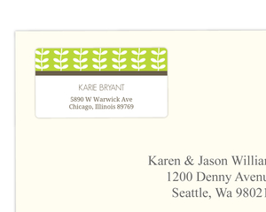 Green Spring Pattern Wedding Address Label