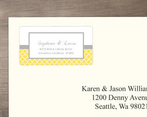 Yellow and Gray Pattern Address Label