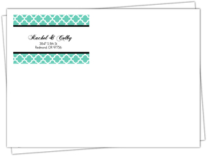 Turquoise Pattern Elegant Wedding Envelope