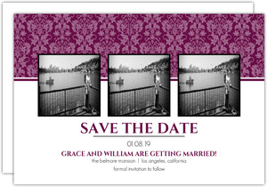 Sangria and Black Elegant Damask Save The Date