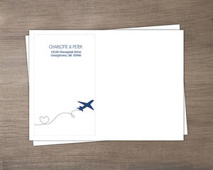 Destination Blue and Gray Plane Address Envelope