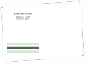 Mint and Brown Soft Stripes Address Envelope