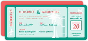 Turquoise Boarding Pass Wedding Invitation
