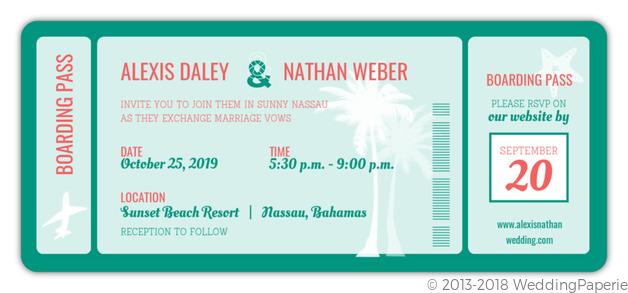 Turquoise Boarding Pass Wedding Invitation Wedding Invitations