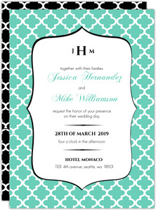 Turquoise Pattern Elegant Wedding Invitation
