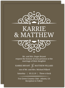 Olive Intricate Frame Wedding Invitation