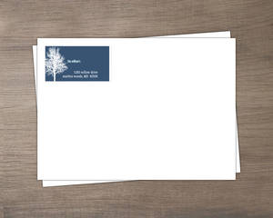 Navy Blue Winter Tree Return Address Envelope