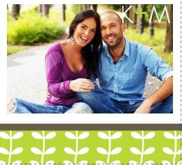 Green Spring Pattern Wedding Save The Date Announcement