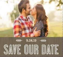 Wood Grain Rustic Save The Date Announcement