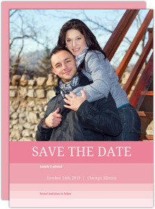 All Pink Ombre Save The Date Announcement