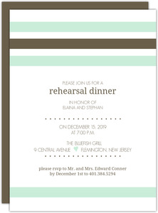 Mint and Brown Soft Stripes Rehearsal Dinner