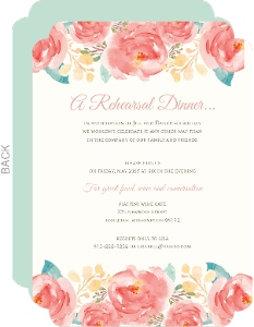 Pink Elegant Watercolor Flower Rehearsal Dinner