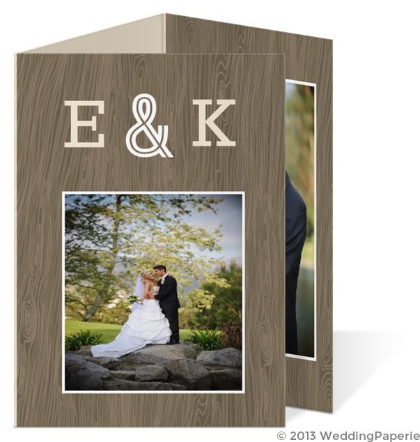 Wood Grain Rustic Wedding Thank You Card Wedding Thank You Cards