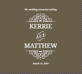 Olive and White Intricate Frame Wedding Program