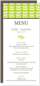 Green Spring Pattern Wedding Menu Card