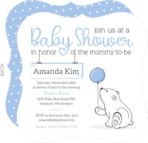 Cute Blue Balloon Bear Baby Shower Invitation