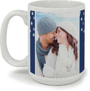 Blue Snowflake Wedding Announcement Custom Mug