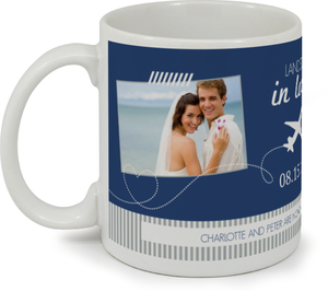 Destination Blue and Gray Plane Custom Mug