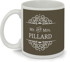 Olive and White Intricate Frame Custom Mug