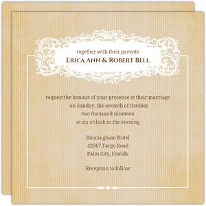 Vintage White Frame Wedding Invitation