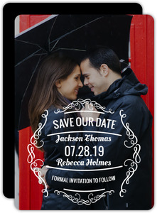Vintage White Frame Save The Date