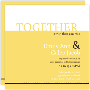 Classic Pale Yellow Wedding Invitation